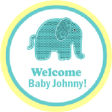 Elephant Baby Shower Label