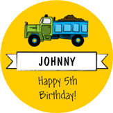 Truck Birthday Label